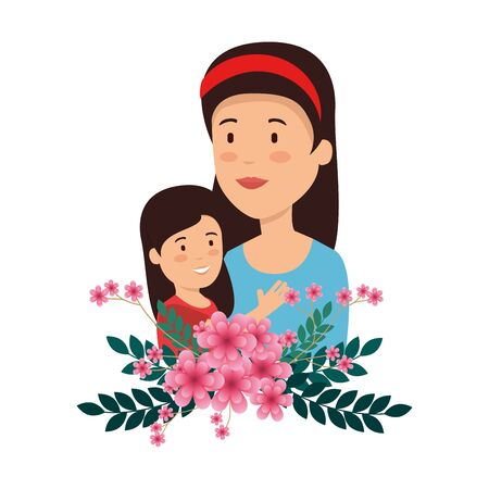 beautiful mother lifting daughter with floral decoration vector illustration design Illustration