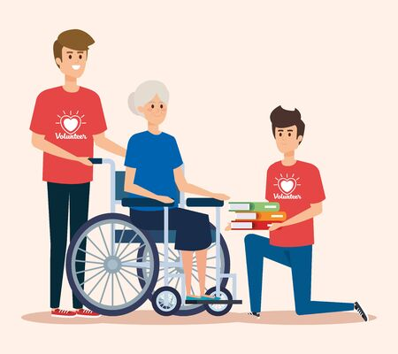boys volunteers with old woman and books donation vector illustration