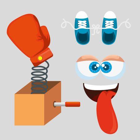 set humor tradition to fools day celebration vector illustration Çizim