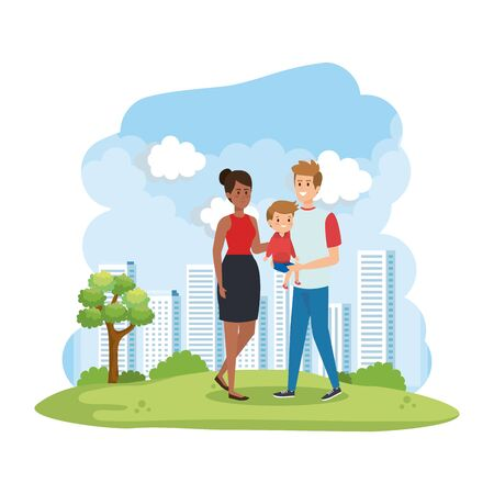 interracial parents couple with son in the park scene vector illustration design Stock Vector - 124732980