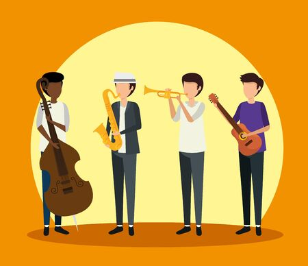 men play instrument to jazz day vector illustration