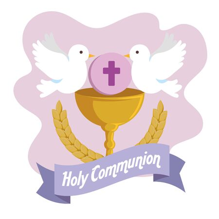 chalice with holy host and doves to first communion vector illustration Illustration