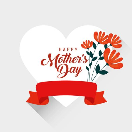 card with beauty flowers and ribbon to mothers day vector illustration