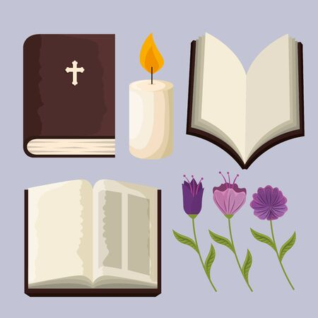 set bible with candle and flowers plants to event vector illustration