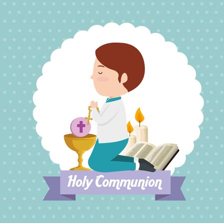boy with bible and chalice to first communion vector illustration