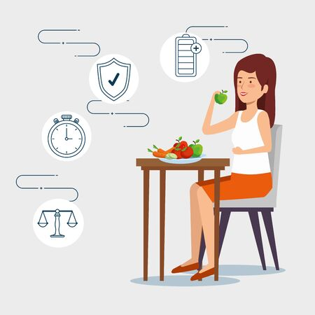 woman eating vegetables and fruits to health lifestyle vector illustration Foto de archivo - 124736394