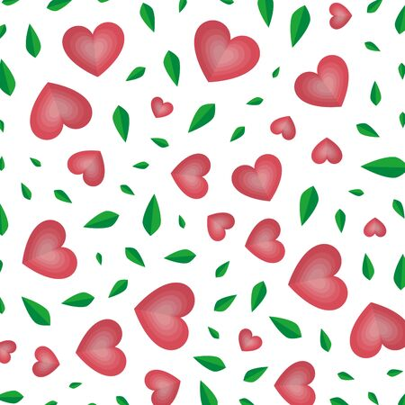 hearts and leafs ecology pattern vector illustration design