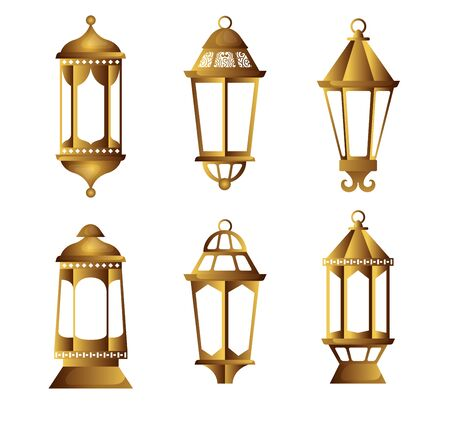 set light hanging lamps object to decoration vector illustration Banque d'images - 124736451