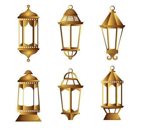 set light hanging lamps object to decoration vector illustration Illustration