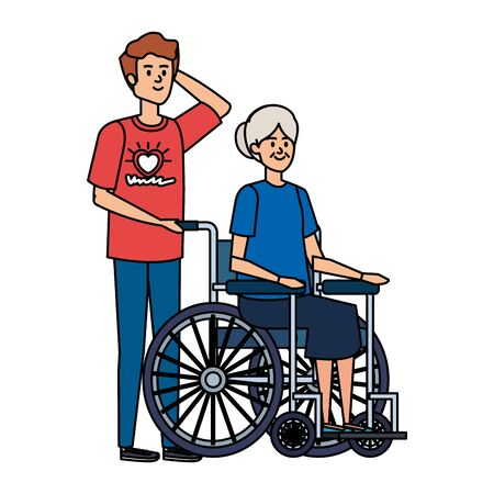 young man volunteer with old woman in wheelchair vector illustration design Ilustrace