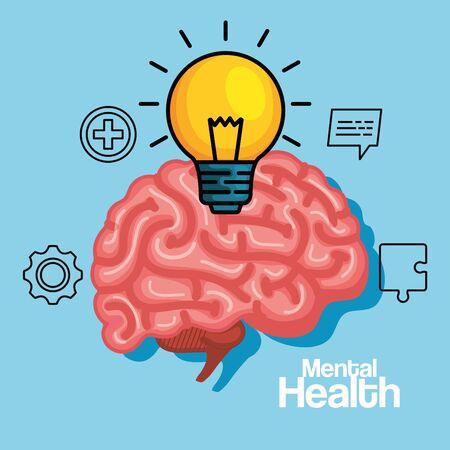creative bulb idea with health brain vector illustration