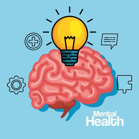 creative bulb idea with health brain vector illustration