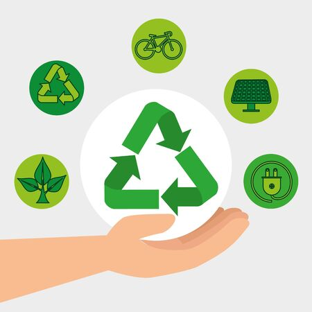 hand with ecology recycle and conservation element vector illustration