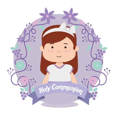 girl with dress and branches leaves to first communion vector illustration Vettoriali