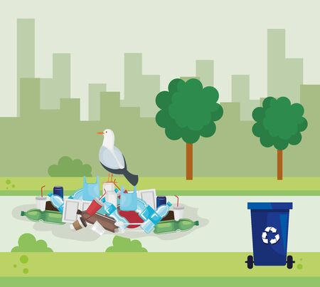 plastics toxic pollution in the city and dove bird vector illustration