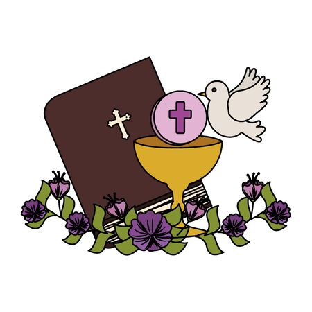 holy bible with chalice and flowers vector illustration design Foto de archivo - 124868360