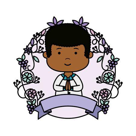 little black boy with wreath flowers first communion vector illustration design Banque d'images - 124868367