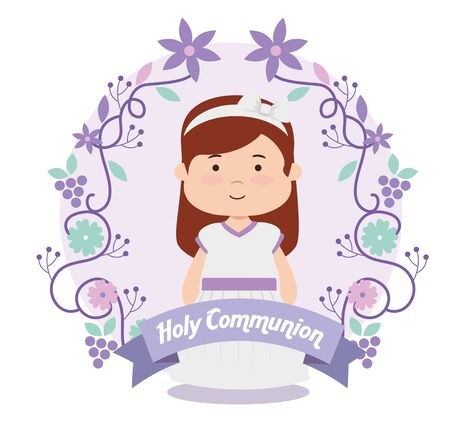 girl with dress and hairstyle to first communion vector illustration