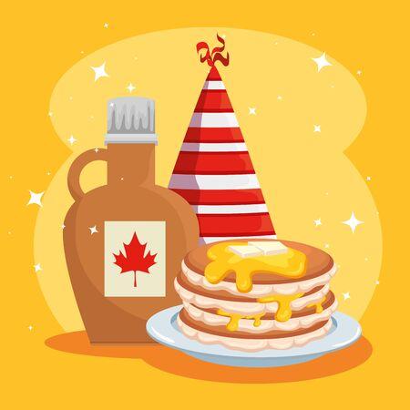 Panqueques con jarra y gorro de fiesta a la ilustración de vector de celebración de Canadá