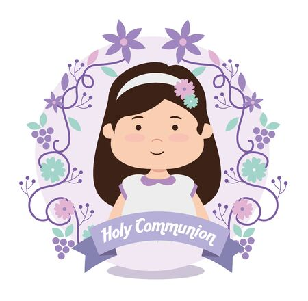 girl with branches leaves and ribbon to first communion vector illustration
