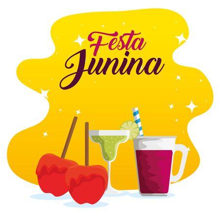 sweet apples with cocktails to festa junina vector illustration