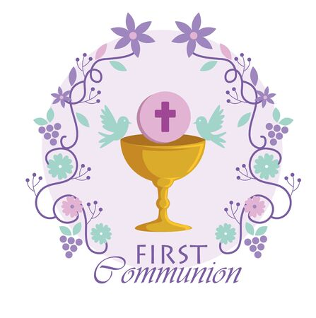 chalice with holy host and branches to traditional event vector illustration