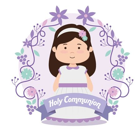 girl with dress and ribbon to first communion vector illustration