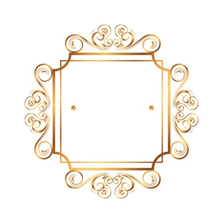 golden square label victorian style vector illustration design