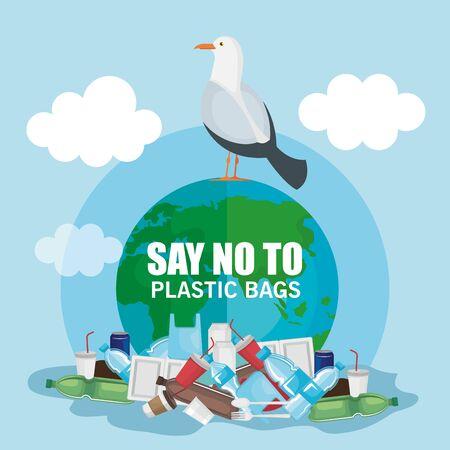 Contaminación de residuos plásticos e ilustración de vector de pájaro paloma