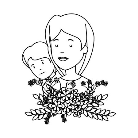 beautiful mother lifting son with floral decoration vector illustration design