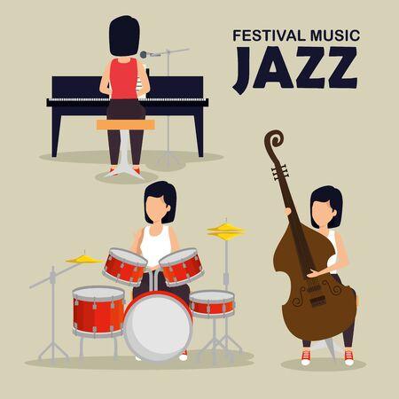 set woman play music instruments vector illustration Stock Illustratie
