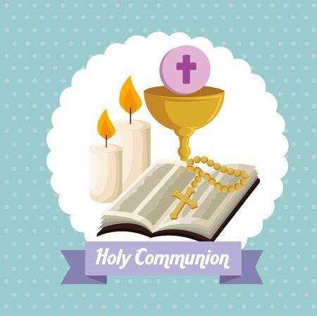 Bibel mit Kelch und Host für die Erstkommunion-Vektorillustration