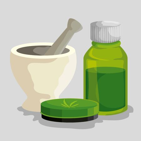 cannabis medicine bottle with ointment and stone grinding crusher vector illustration Illustration