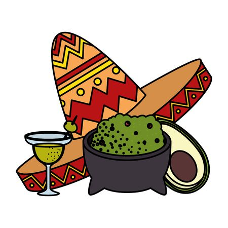 guacamole with mexican hat and margarita vector illustration design Illustration