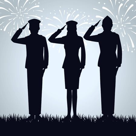 patriotic soldiers to traditional memorial day vector illustration