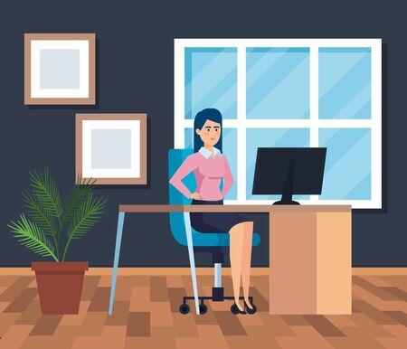 professional businesswoman with computer in the desk with diplomas vector illustration