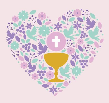 chalice with holy host and doves inside heart to event vector illustration