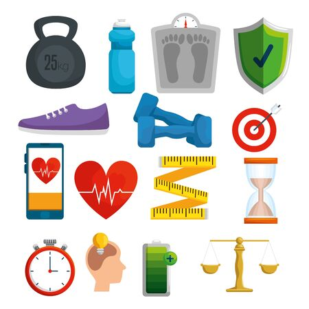 set health balance with exercise and treatment vector illustration Illustration