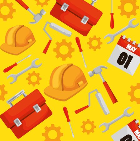 construction box with professional tools background vector illustration