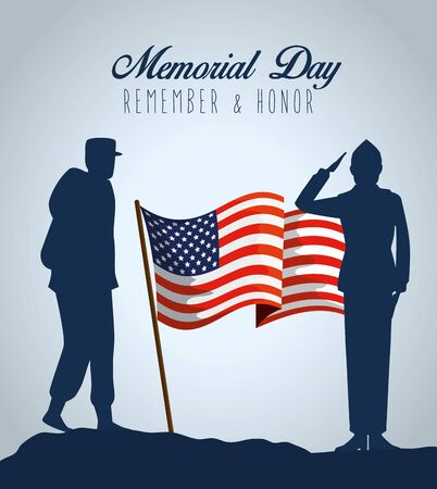 patriotic militaries with usa flag to memorial day vector illustration
