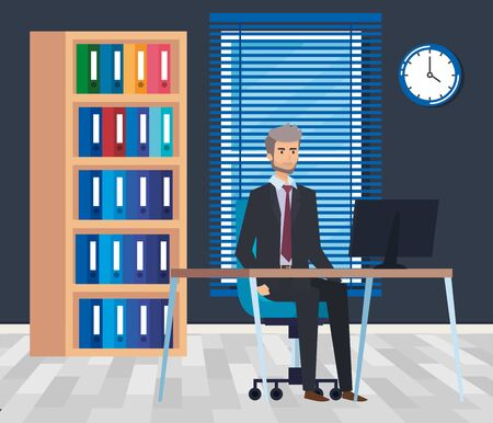 professional businessman with computer in the desk and bookcase vector illustration