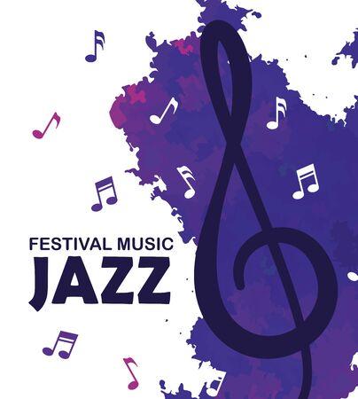 festival de jazz día con notas musicales ilustración vectorial