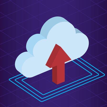 isometric cloud data server upload technology vector illustration