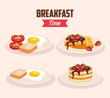 set delicious fried egg with waffles and pancakes vector illustration Stockfoto - 124884895