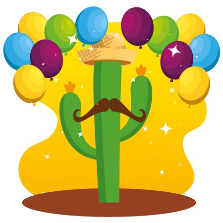 cactus plants wearing hat and mustache with balloons vector illustration Illustration