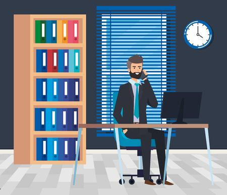 executive businessman with computer in the desk and bookcase vector illustration