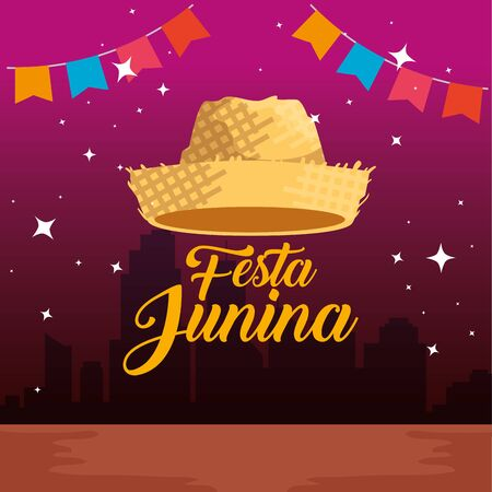 party banner with hat to festa junina vector illustration