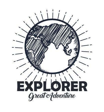 explorer earth planet adventure travel vector illustration