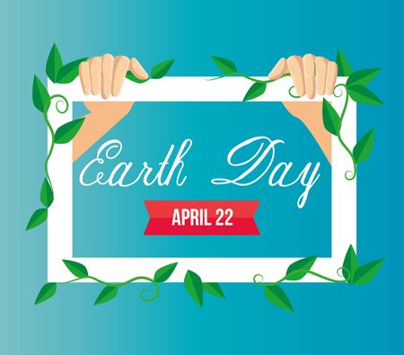 hands with emblem and leaves to earth day vector illustration Çizim