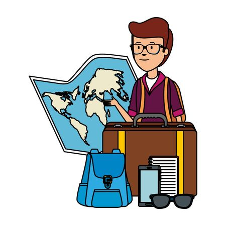 tourist man with paper map and travel icons vector illustration design